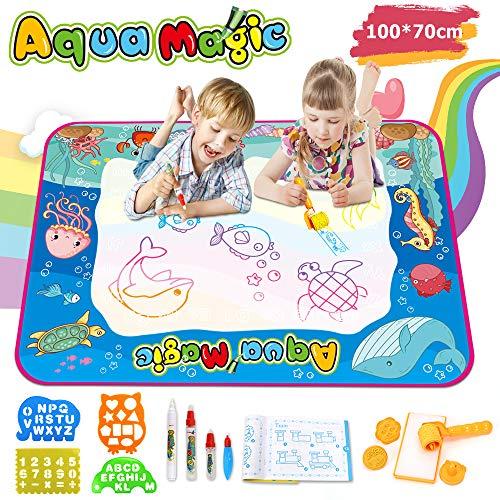 Ounuo Wasser Doodle Matte Aqua Doodle 100*70cm Zaubertafel Malmatte Wasser, mit 1 Malerroller, 4 Zeichenformen, 4 Stifte, 3 Stempel, 2 Schwamm, 1 Bilderbuch, Wasser Zeichnen Matte Drawing Painting Mat - Stufe 3 Wasser