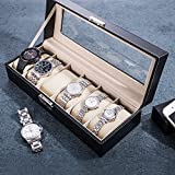 6 Grids Jewelry Watch Display Box Case, Black Faux Leather Watch Storage Box for Men