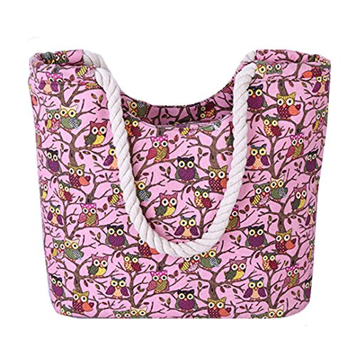 AISI da donna estate spiaggia tela borsetta oversize Holiday Tote shopping bag, donna, Beige Pink