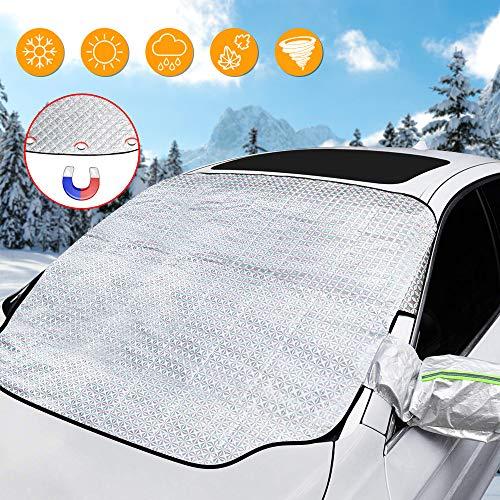 solawill Frontscheibenabdeckung Auto Scheibenabdeckung Windschutzscheiben Abdeckung Magnetische Magnet Fixierung Faltbare Abnehmbare Frostabdeckung Auto Abdeckung für Winter(187 * 110cm)