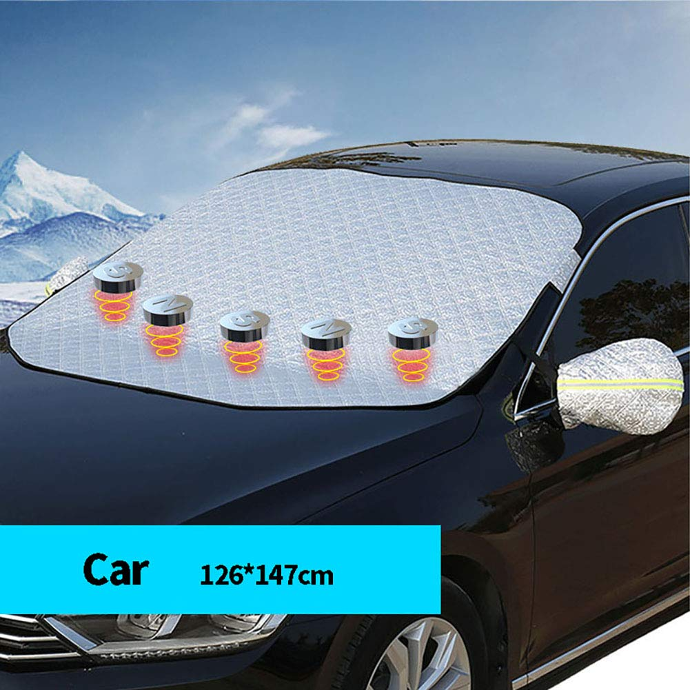 Feicuan Copertura Parabrezza Auto Pieghevole 125x148CM per Berlina Universale Neve Ghiaccio Gelo Sole Polvere UV Proteggere Copertura per Parabrezza,Multifunzione