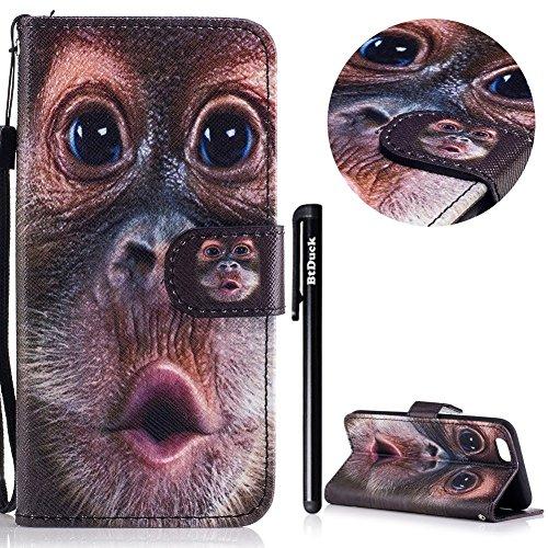 iPhone 6/6S 4.7 Cover a Libro,BtDuck Morbido Slim Custodia Pelle Borsa e Portafoglio Tasca Progettato Creativo Divertente Funny Animale Modello Flip Cover Case Morbido Silicone Back Case Bumper con Ma 6/6S 4.7-Orangutan