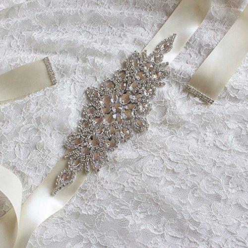 Kicode Dazzling Glas Kristall Strass Braut Gürtel Applique Sash Brautkleid Gürtel