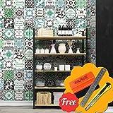 Walplus Entfernbarer selbstklebend Wandkunst Aufkleber Vinyl Wohndeko DIY Wohnzimmer Schlafzimmer Küche Dekor Tapete Englisch Mix Französisch Braun & grün Wand Fliesen Aufkleber 48 stk. x 15cm x 15cm