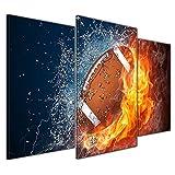 Bilderdepot24 Kunstdruck - Football - Feuer und Eis - Bild auf Leinwand - 100x60 cm dreiteilig - Leinwandbilder - Bilder als Leinwanddruck - Wandbild
