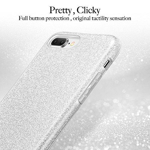 Coque iPhone 8 Plus, Coque iPhone 7 Plus Argent, ESR Coque Paillette Strass Brillante Bling Bling Glitter de Luxe, Housse Etui de Protection Silicone [Ultra Fine] [Anti Choc] pour Apple iPhone 7 Plus  Argent
