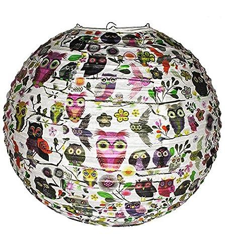 Papier Laterne / Lampenschirm - Eulen & Blumen - für Kinder Papierlaterne - Laternen Lampions - Eule auf Ast - Mädchen Jungen - Kinderzimmer Tier Schmetterling Vögel