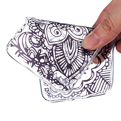 CaseHome iPhone 7 Plus 5.5'' Durchsichtig Silikon TPU Hülle Elegantes Stilvoll Hübsches Muster Druckte Entwurf (Mit freiem HD Schirm-Schutz) Gummi Silikongel Retro Klassiker Stoßstange Weicher Stoßdäm Lotus