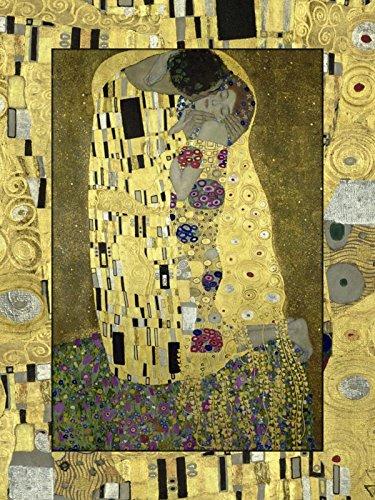 Artland Modell-Rahmen Wand-Bild gerahmt mit Motiv Gustav Klimt Der Kuß Menschen Paar Malerei Gelb 80,9 x 59,9 x 1,6 cm B5LC