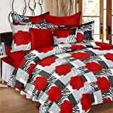 #5: Casa Copenhagen 100% Cotton 144Thread Count Solid Double Bedsheet With 2 Pillow Covers - Red