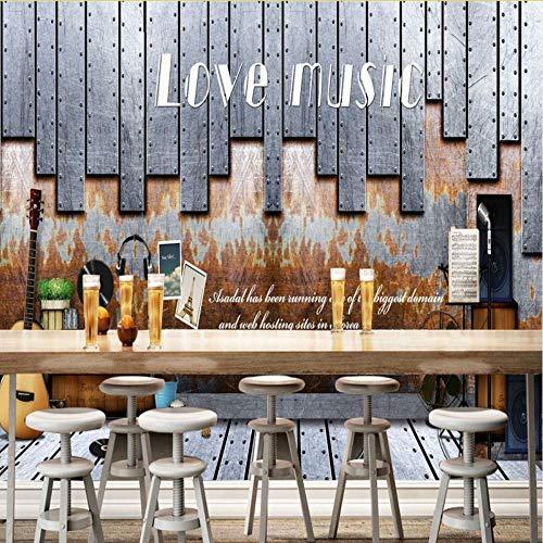 Rureng Tapete 3D Europa Amerika Nostalgisch Musikthema Bar Café Hintergrund Wand Bar Studio Restaurant Wandbild Tapete-150X120Cm