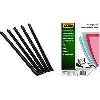 Fellowes 5384001 Pack de 50 Baguettes de reliure manuelle Relido 9-12 mm Noir & 5376102 - Couvertures de reliure PVC…