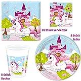 Einhorn Unicorn Pony Set Party-Deko Tischgeschirr 36-teilig Servietten Teller Becher Kinder Geburtstag Partygeschirr für 8 Personen