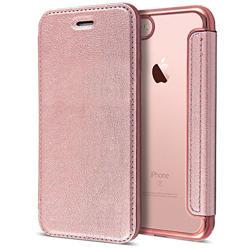 Rose Gold iPhone 6 6S 4 7 inch Leather Case,Premium Anti-Scratch [Clear  Back] Shockproof TPU Bumper Plating Chrome Leather Flip Wallet Case Cover  for