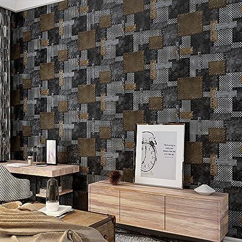 Industrial Style Architectural Tin Trunk Patch Motif en relief papier peint–33'(10m), rouleau complet, noir