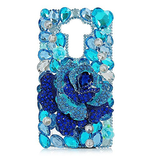 Spritech (TM) 3D Handmade Mazarine Rose Blue Heart Diamant Design Hard Case für LG G4 H815 H818