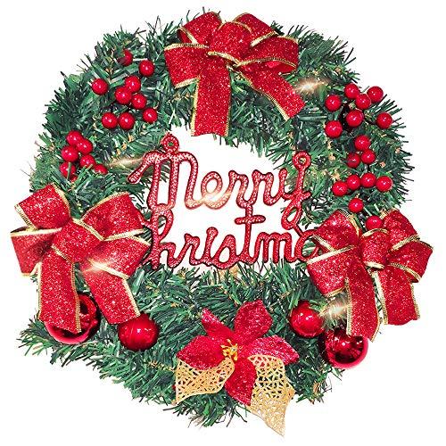 BSET BUY 40cm Weihnachtskranz Weihnachts Türkranz Weihnachtsdeko Kranz Weihnachtsgirlande mit Kugeln Handarbeit Weihnachten Garland Deko-Kranz (red)