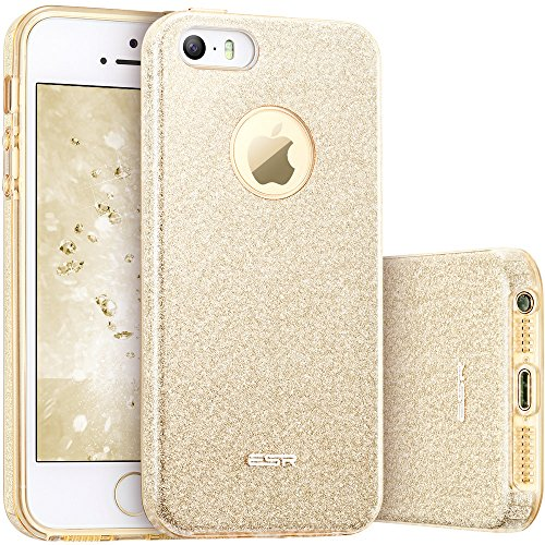 Coque iPhone SE Dorée, ESR iPhone 5s / 5 / SE Coque Silicone Paillette Strass Brillante Bling Bling Glitter de Luxe, Bumper Housse Etui de Protection [Ultra Fin] [Anti Choc] pour Apple iPhone 5 / 5 S / SE 4 pouces (Série Glamour, Or Champagne Pailleté)