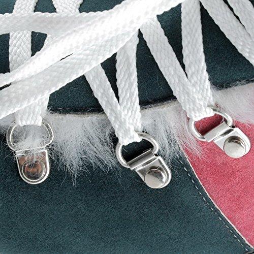 VogueZone009 Damen Rund Zehe Niedriger Absatz Niedrig-Spitze Gemischte Farbe Stiefel Dunkelgrün