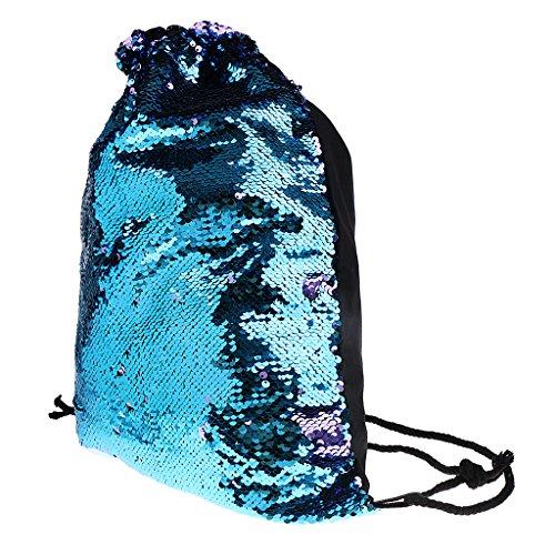 Gazechimp Beutel Hipster Turnbeutel Gym-Sack Beuteltasche Jute Rucksack Strandbeutel für Damen Mädchen Jungen Herren - Blau Lila (Pailletten-jute)