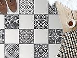 creatisto Fliesen-Deko | Dekorations-Bodenfliesenfolie Badfolie Küchen-Fliesen Bodendeko | 33,3x33, Muster Ornament Black n White - 8 Stück