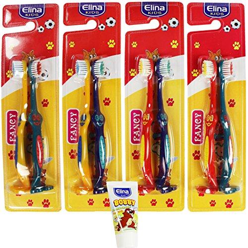 com-four® 8er Set Kinder-Handzahnbürste für Mädchen & Jungs Soft mit 2-Stufen Borsten + 50 ml Kinder-Zahncreme