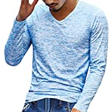 EUCoo Uomo T-Shirt Manica Lunga V-Collo Tee Camicia in Fondo vestibilità Slim Moda Primavera e Autunno Tops