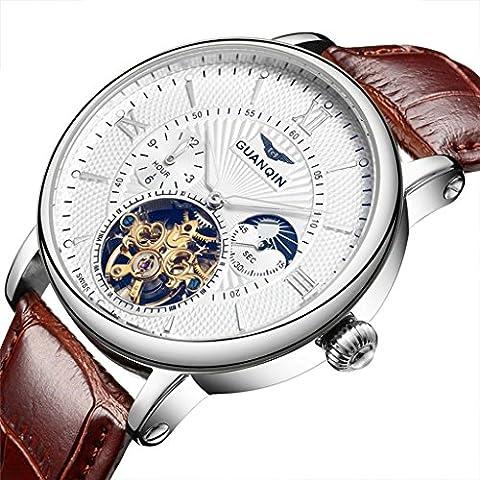 downj marca reloj deportivo para hombre Tourbillon automático mecánica banda de cuero marrón Wihte Dial reloj de