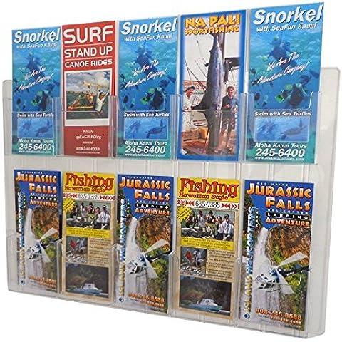 Source One 2 Piece Set Ten Pocket Wall Mount Premium Trifold Brochure Holder Menu Rack (10POC2PCSETWMTRI) by SourceOne