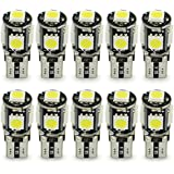 10x T10 W5W LED no hay errores Bombillas exteriores 5 SMD 5050 Luz Coche trasera Lámpara Blanco Xenon Luz de interior T10 Wedge Lampara para Coches luces de la matrícula luces laterales 12V