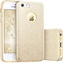 ESR Funda iPhone 5S/SE/5 Carcasa Dura Brillante Brillo Purpurina llamativa para Apple iPhone -Oro
