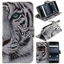 Cover Nokia 6, CLM-Tech sintetica pelle Custodia per Nokia 6 Flip Case tigre bianco nero [funzione supporto] [slot per schede] [chiusura magnetica] Nokia 6 portafoglio