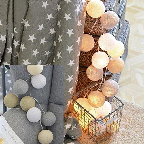 DOLDOA 20er Led Baumwollkugel Batterie-Lichterketten für Haus,Hochzeit,Weihnachten,Erntedankfest (20er Led – Länge: 2M, F – Licth Farbe: gelb)