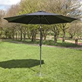 2.5m Aluminium Round Wind up Garden Parasol Sun Shade Patio Outdoor Umbrella by Alfresia - Choice of Colours (Black)