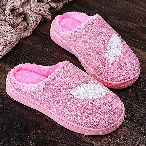 Icegrey Pantofole da Uomo Donne Moda Acquista Lavorato A Maglia Confortevole Peluche Pile Allineate su Slip Sale di Casa Pantofole Rosa