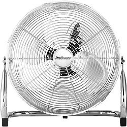 """Pro Breeze Ventilateur de Sol 20"""" Chrome - style Gym/Atelier/Garage - avec 3 vitesses et tête de ventilateur réglable"""