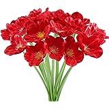 HUAESIN 20pcs Flores Artificiales Rojas Amapolas Decoracion 32cm Plastico Flor Amapolas Artificiales de Seda Arbusto de Plant