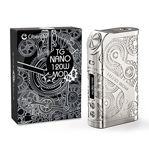 Ciberate® TG Nano 120W E Zigarette/E shisha Akkuträger, Box Mod E-Zigarette/E- shisha Akku, Ohne Verdampfer,Ohne 18650 Batterie, ohne Nikotin, 1 Stück, Silbrig