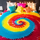 #10: Folkulture Rainbow Spiral Tie Dye Cotton Bedsheet for Double Bed without Pillow Covers - Queen Size Indian Tapestry Bedspread