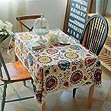 HaoCH Vintage Baumwolle Leinen Rechteckige Tischdecke Küche Restaurant Tischdecke Spitze Sonnenblume Tischdecke Set Staubdicht Wasserdicht Schwergewicht Stoff Deko Tischdecke, 140x220cm (55x87 inch) - 2