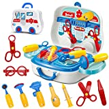 Doctors Set in Medical Carrycase with wheels Role Play Fun Playset for Kids Boys Girls Age 3 Years and Up
