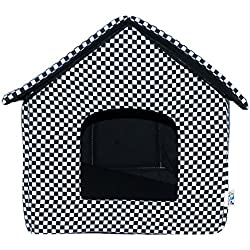 LOVE PET - Caseta de Tela Plegable/ Cuna Perro/ Habitación Portátil/ Nido Mascota para Perros, Gatos con forma de casa (motivo ajedrez, L)