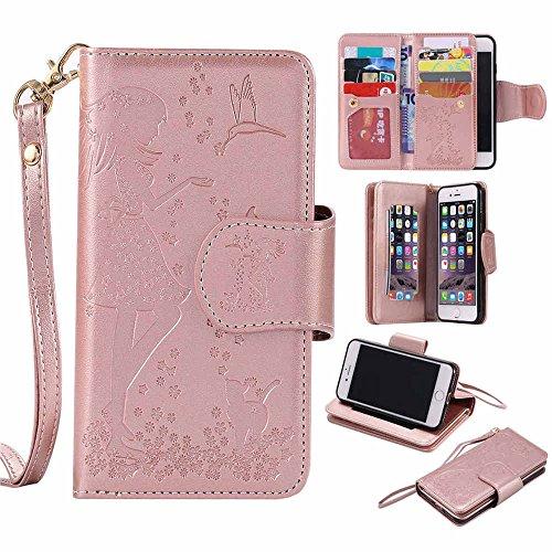 """iPhone 7 Hülle Leder Brieftasche Spiegel Entwurf, Bookstyle Flip Cover Case mit Funktion Kickstand Karte Halter Magnetverschluss für iPhone 7 4.7"""" Rosa Rose Gold"""
