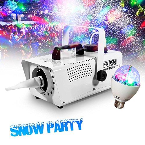 Máquina de nieve artificial efecto de tormenta de nieve + Tél + lámpara ambiental 4LEDs