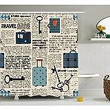 S&H Rideau de douche décor vieux journal par, Style Retro Vintage thème Voyage Vacances Valises Dot Touches Texte, décor de salle de bains set tissu avec des crochets, crème bleu noir 72'x72'