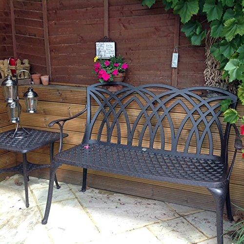 Lazy Susan – SANDRA Quadratischer Kaffeetisch mit 1 APRIL Gartenbank – Gartenmöbel Set aus Metall, Antik Bronze - 4