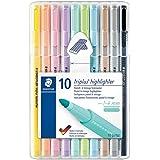 Staedtler 362 CSB10 Textmarker triplus highlighter (ergonomische Dreikantform, hohe Qualität, Set mit 10 Pastell- und Vintage-Farben, Linienbreite 1 - 4 mm)
