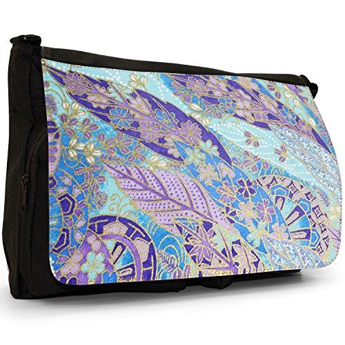 Fancy A Bag Borsa Messenger nero Japanese Art Red Fan Japanese Grunge Fan Leaf Blue Purple