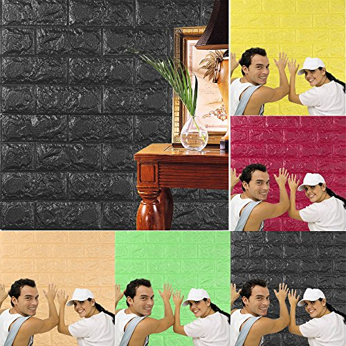 papel pintado ladrillo, AIMEE7 moderno PE espuma 3D Wallpaper DIY pegatinas de pared decoración de la pared en relieve de ladrillo piedra fondo de pantalla (60 X 60 X 0.8cm, Negro)