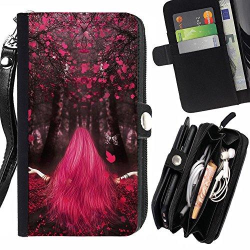 Graphic4You Love Magic Girl Zen Design Zipper Brieftasche mit Strap Hülle Tasche Schale Schutzhülle für Blackberry Leap (Magic Leap)